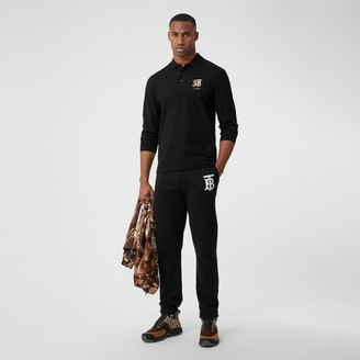 Burberry Long-sleeve Contrast Logo Graphic Cotton Polo Shirt