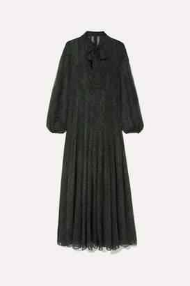 Akris Pussy-bow Snake-print Silk-chiffon Maxi Dress - Green