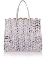 Alaia Light grey leather laser-cut bag