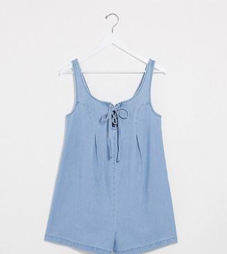 ASOS DESIGN Maternity soft denim lace up romper in lightwash blue