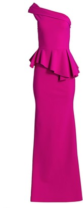 Chiara Boni Jessie Long One-Shoulder Peplum Gown