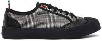 Thom Browne Black and White Houndstooth Vulcanized Brogued Sneakers