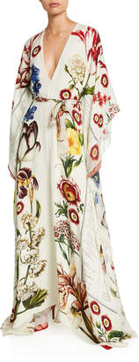 Oscar de la Renta Floral V-Neck Long-Sleeve Self-Belt Silk Caftan