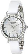 Akribos XXIV Women's AK758SSW Silver-Tone Watch with White Band