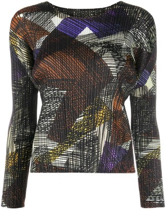 Pleats Please Issey Miyake Pleated Abstract Print Top