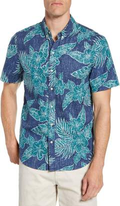 Reyn Spooner Hibiscus Fronds Regular Fit Tropical Short Sleeve Button-Down Sport Shirt
