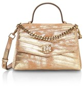Tory Burch Small Kira Chevron Metallic Leather Top Handle Bag