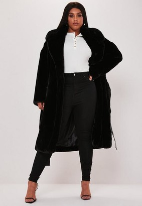 Missguided Size Premium Black Faux Fur Belted Coat