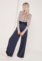 Missguided Petite Navy Paper Bag Waist Wide Leg Trousers