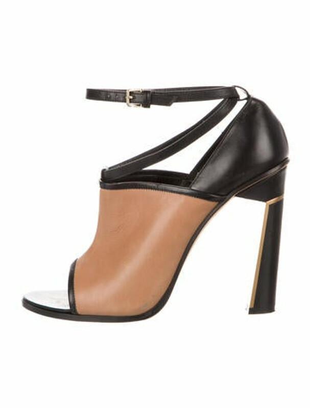 Derek Lam Leather Colorblock Pattern Sandals Black
