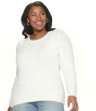 Mudd Juniors' Plus Size Scoopneck Eyelash Pullover Sweater