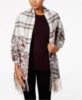 Charter Club Floral-Over-Plaid Blanket Wrap and Scarf in One, Created for Macy's