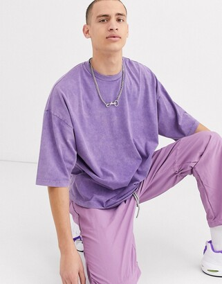Asos Design DESIGN oversized t-shirt with half sleeve with acid wash in purple