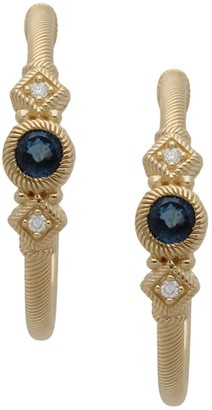 Judith Ripka 14K Gold Gemstone & Diamond Hoop Earrings