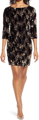 Eliza J Sequin Velvet Shift Dress