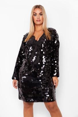 boohoo Plus Sequin Disk Long Sleeve Shift Dress