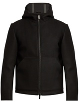 Fendi Logo Shearling-embellished Felt Hooded Jacket