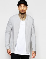 Asos Muscle Fit Jersey Bomber Jacket In Grey Marl