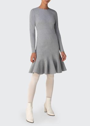 Akris Punto Long-Sleeve Godet Jersey Dress
