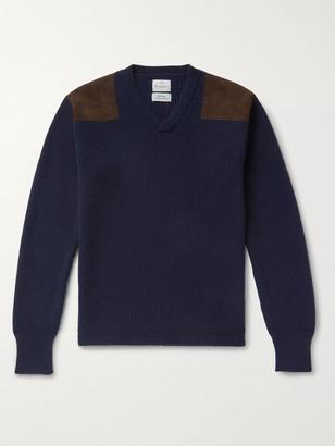 Kingsman Merlin Slim-Fit Suede-Trimmed Cashmere Sweater