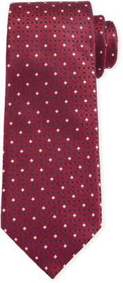 Canali Men's Contemporary Links Silk Tie, Red