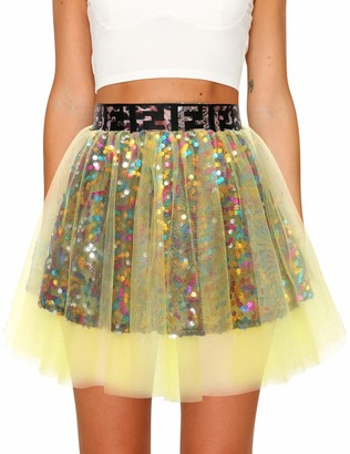 Timormode 10988 A-line Mini Tutu Sequin Skirt Petticoat Tulle Princess Ballet Skirt Party Dress Up Pink L