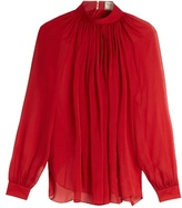 Maison Rabih Kayrouz Gathered silk-mousseline blouse