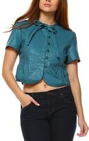 Blue Cropped Linen-Blend Button-Up