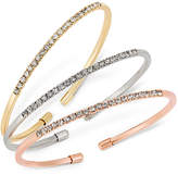 INC International Concepts Tri-Tone 3-Pc. Set Crystal Bangle Bracelets, Created for Macy's