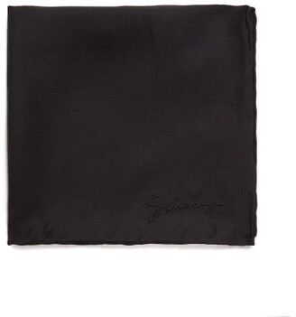Givenchy Embroidered-logo Silk-faille Pocket Square - Mens - Black