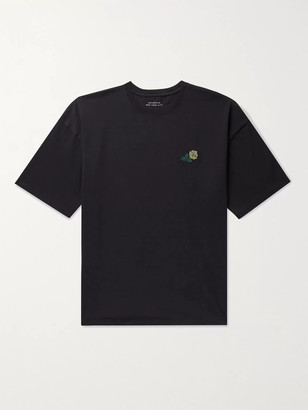 Saturdays NYC Rose Embroidered Printed Cotton-Jersey T-Shirt