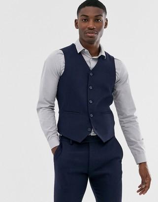 ASOS DESIGN wedding super skinny suit suit vest in navy herringbone
