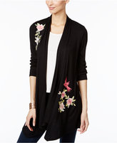 INC International Concepts Embroidered Open-Front Cardigan, Created for Macy's