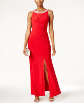 Alex Evenings Embellished Ruched Slit Gown