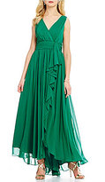 Eliza J V-Neck Sleeveless Ruffle Front Solid Chiffon Gown