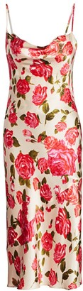 L'Agence Nyla Cowl-Neck Floral Silk Slip Dress
