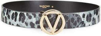 Mario Valentino Giusy Leopard Python-Embossed Leather Belt