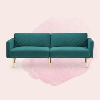Everly Quinn Old Rosa Velvet Sofa Bed Fabric: Deep Teal