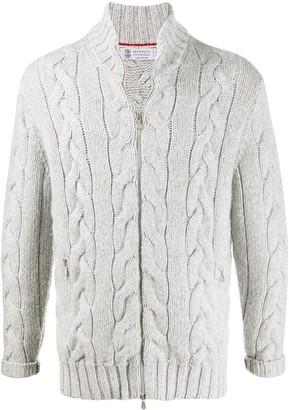 Brunello Cucinelli Cable Knit Zip Cardigan