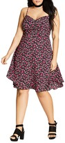 City Chic Ditsy Floral Print Dress