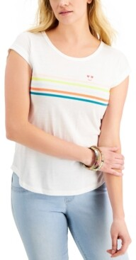 Style&Co. Style & Co Happy Stripes Graphic T-Shirt, Created for Macy's