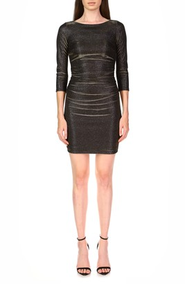 Halston Metallic Ruched Cocktail Dress