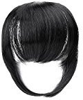 TY.Hermenlisa Synthetic Clip in Hair Bang Extensions Heat Resistant Short Straight Fringe Hairpiece Accessory, 1Pc, 25g, Claudia -Jet Black(#1)