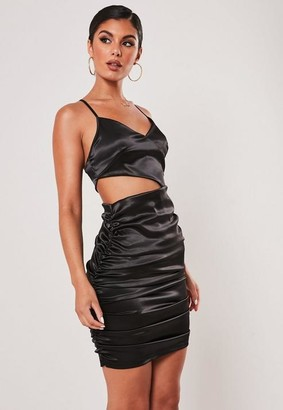 Missguided Black Satin Cut Out Strappy Ruched Mini Dress