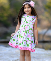 Annloren AnnLoren Girls' Casual Dresses MELON - White & Green Multicolor Abstract Floral Pleated A-Line Dress - Toddler & Girls