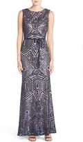 Vince Camuto Geometric Sequin Gown