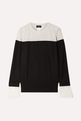 Akris Two-tone Crepe-trimmed Cashmere And Mulberry Silk-blend Sweater - Black