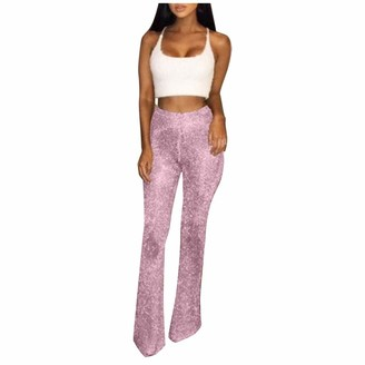 TIFIY Women Sexy Pack Hip Stretch Crochet Flare Pants High Waist Glitter Club Trousers Slim Fit Full Length Pant Ladies Loungewear Pants Pink
