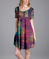Aster Pink Abstract Scoop Neck Pocket Dress - Plus Too