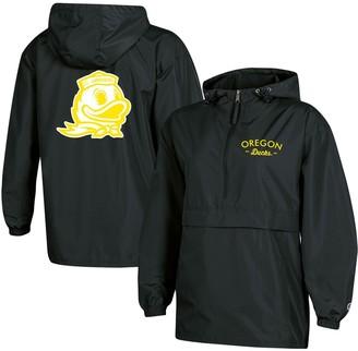 Champion Women's Black Oregon Ducks Packable Half-Zip Light Rain Jacket